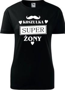 Czarny t-shirt TopKoszulki.pl z krótkim rękawem z bawełny z okrągłym dekoltem