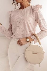 Różowa bluzka Shopaholics Dream z bawełny z długim rękawem
