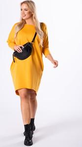 Żółta sukienka Ptakmoda.com z dresówki z długim rękawem