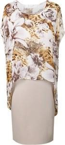 Sukienka Fokus asymetryczna z tkaniny z okrągłym dekoltem
