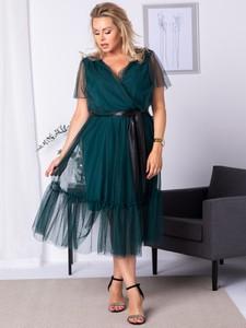 Sukienka KARKO z dekoltem w kształcie litery v z tkaniny midi