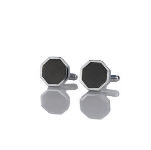 Em Men`s Accessories Spinki do mankietów klasyczne srebrne w kształcie sześciokąta EM 10