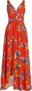 Sukienka Pinko z dekoltem w kształcie litery v maxi bez rękawów