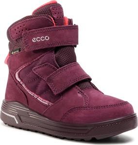 Czerwone buty dziecięce zimowe Ecco z goretexu na rzepy