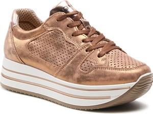 Złote buty sportowe Igi & Co ze skóry na platformie