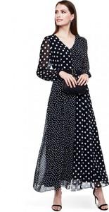 Sukienka L'AF rozkloszowana z szyfonu z długim rękawem