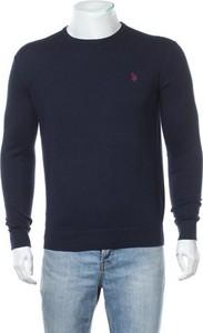 Niebieski sweter U.S. Polo w stylu casual z bawełny