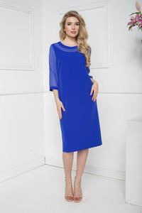 Niebieska sukienka Marcelini prosta z szyfonu