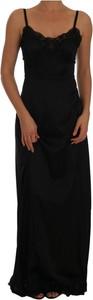 Czarna sukienka Dolce & Gabbana maxi z bawełny