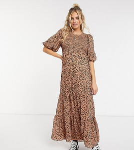 ASOS DESIGN Maternity – Marszczona warstwowa sukienka maxi w kropki-Wielokolorowy