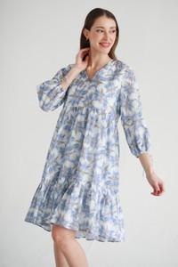 Niebieska sukienka Hemisphere z kołnierzykiem z długim rękawem