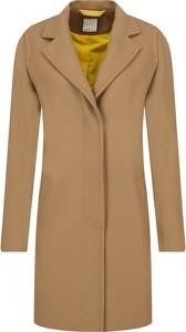 Żółty płaszcz BOSS Casual z wełny