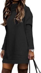 Czarna sukienka Cikelly z golfem z długim rękawem
