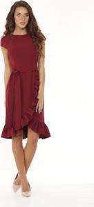 Sukienka Ella Dora z okrągłym dekoltem asymetryczna z krótkim rękawem
