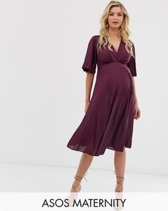 Czerwona sukienka Asos z długim rękawem
