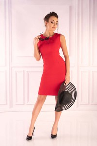 Czerwona sukienka MERRIBEL z okrągłym dekoltem z szyfonu w stylu casual