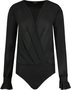 Czarna bluzka Elisabetta Franchi z długim rękawem z dekoltem w kształcie litery v