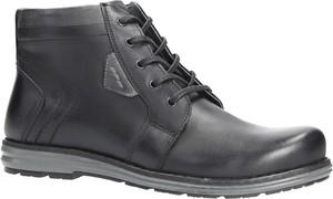 Granatowe buty zimowe Casu sznurowane w stylu casual