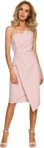Różowa sukienka MOE z dekoltem w kształcie litery v gorsetowa