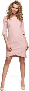 Sukienka MOE z długim rękawem mini prosta