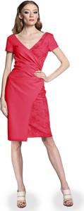 Granatowa sukienka Camill Fashion z krótkim rękawem