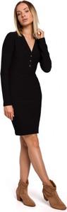 Czarna sukienka MOE z dekoltem w kształcie litery v mini z dzianiny