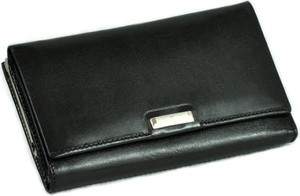 Czarny portfel VIP Collection ze skóry