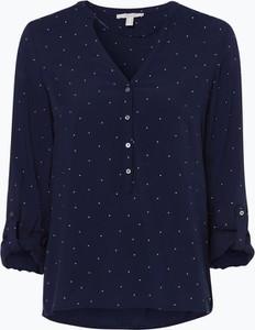 Niebieska bluzka Esprit z dekoltem w kształcie litery v z długim rękawem