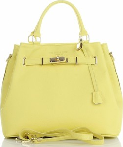 Żółta torebka VITTORIA GOTTI matowa średnia ze skóry
