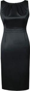 Czarna sukienka Fokus z okrągłym dekoltem midi bez rękawów