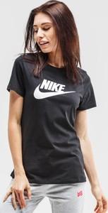 Czarny t-shirt Nike w sportowym stylu z okrągłym dekoltem z krótkim rękawem