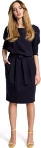 Sukienka MOE z okrągłym dekoltem z długim rękawem z bawełny