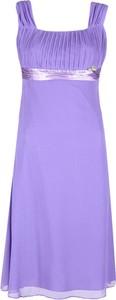 Sukienka Fokus z okrągłym dekoltem midi z szyfonu