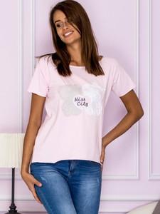 Różowa bluzka Factory Price z krótkim rękawem