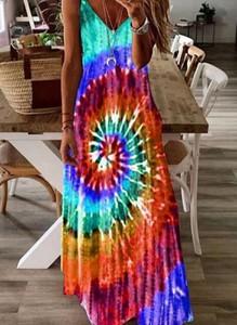 Sukienka Sandbella w stylu boho na ramiączkach z dekoltem w kształcie litery v