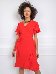Czerwona sukienka Sheandher.pl z krótkim rękawem