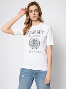 T-shirt Tommy Hilfiger w młodzieżowym stylu z okrągłym dekoltem