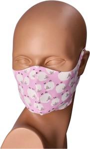 Bertoni Maseczka na twarz wielorazowa różowo-biała