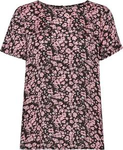 Różowa bluzka Kaffe w stylu casual z krótkim rękawem