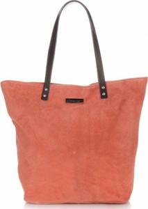 Pomarańczowa torebka VITTORIA GOTTI z zamszu duża w wakacyjnym stylu