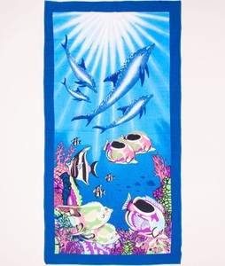 Yoclub Ręcznik plażowy prostokątny ryby i delfiny