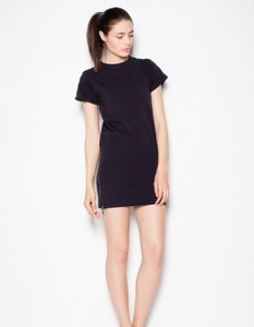 Czarna sukienka Venaton z krótkim rękawem