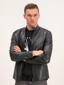 Czarna kurtka Emporio Armani w stylu casual ze skóry