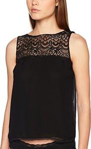 Czarna bluzka Les Jupons De Tess z okrągłym dekoltem w stylu casual
