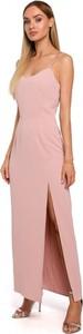 Różowa sukienka MOE z dekoltem w kształcie litery v z tkaniny