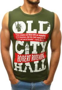 Zielona koszulka Dstreet z nadrukiem z tkaniny