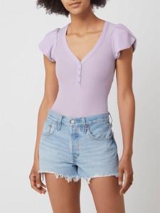 Fioletowa bluzka Guess z dekoltem w kształcie litery v