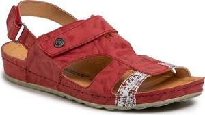 Czerwone sandały Dr. Brinkmann na rzepy w stylu casual z płaską podeszwą