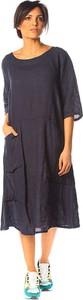Sukienka La Compagnie Du Lin z lnu midi z okrągłym dekoltem