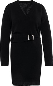 Czarna sukienka Pinko w stylu casual z długim rękawem z dekoltem w kształcie litery v